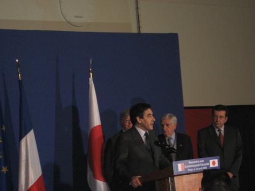 Discours devant la communauté française de Tokyo sur le Mistral, navire de guerre français