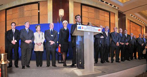 La délégation qui l'accompagne : C. Lagarde, D. Bussereau, Eric Woerth.
